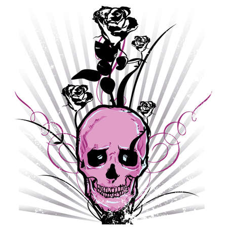 emo: Skull and roses Vector illustration All parts are complete and fully editable