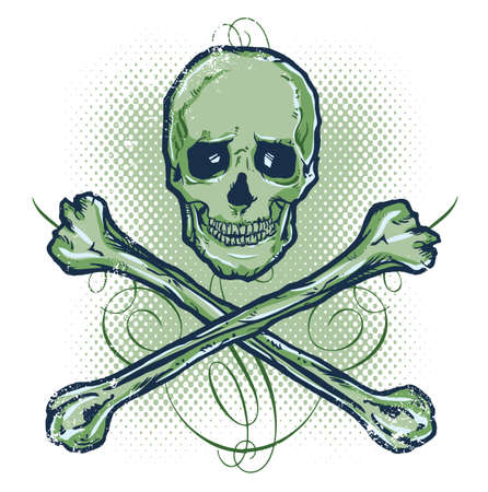 Skull and Crossbones Vector illustration All parts are complete and fully editable Stock Vector - 3205849