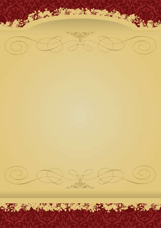 Vintage Red and Gold decorative banner vector illustration All parts are editable Vector