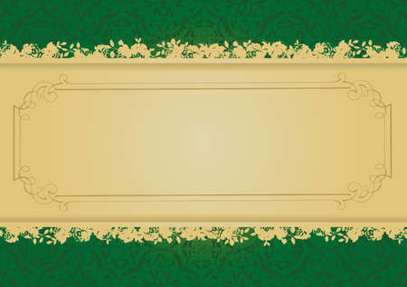 Vintage Green and Gold decorative banner vector illustration All parts are editable Illustration