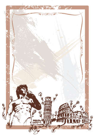 Italian Landmarks illustration including Pisa the rome Colosseum and Michelangelos David All parts are editable Vector