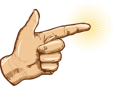 caucasian: Human hand pointing vector illustration All parts are editable Illustration