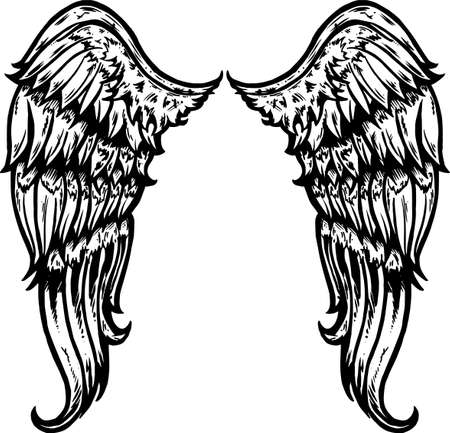 wings tattoo: Hand drawn tattoo style wings converted to vecter format