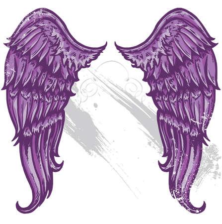 emo: Hand getrokken tatoeage stijl vleugels omgezet naar vecter formaat Alle onderdelen worden bewerkt en op aparte lagen