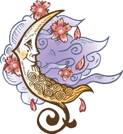 cresent: Cresent Moon Against Soft Clouds Tattoo Style Vector Illustration All parts are seperate and editable