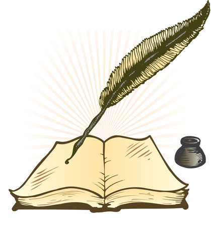 ink pot: Bote de tinta y pluma Libro Abierto Ilustraciones Vectoriales con espacio para texto Vectores