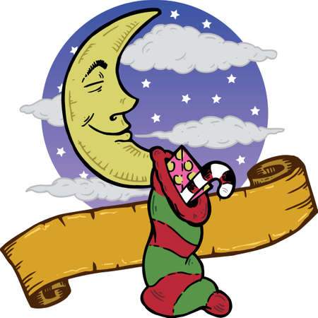 cresent: Moon at Christmas with a stocking full of presents illustration