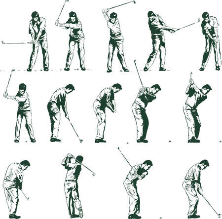 columpio: Golf swing demostrado en 14 etapas ilustraci�n vectorial completamente editable
