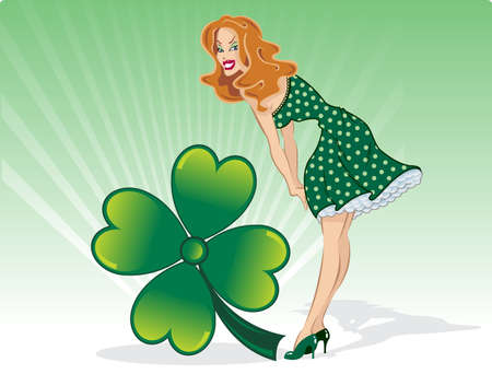 full day: St Patricks Day pin up with clover vector illustration. Fully editable. View my full portfolio for similar images.