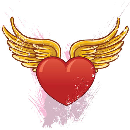 Heart with wings vector illustration. All parts are complete and fully editable Vector