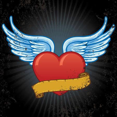 grunge wings: Cuore con le ali e banner illustrazione vettoriale. Tutte le parti sono completamente modificabili e completo