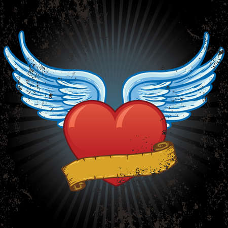 Heart with wings and banner vector illustration. All parts are complete and fully editable Vector