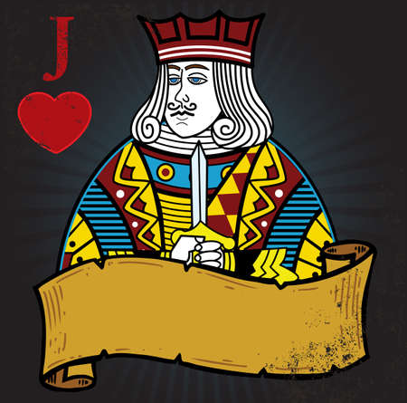 Jack of Hearts with banner tattoo style illustration. All elements are separate and fully editable Vector