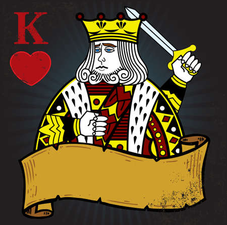 card suits symbol: King of Hearts with banner tattoo style illustration. All elements are separate and fully editable