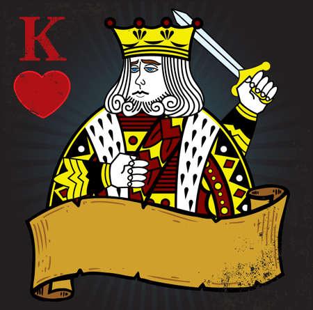 corona rey: Rey de Corazones con bandera tatuaje estilo ilustraci�n. Todos los elementos est�n separados y completamente editable