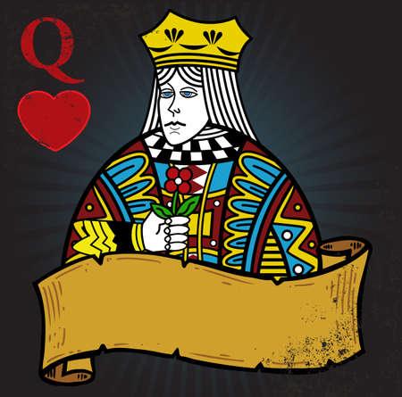 queen diamonds: Queen of Hearts con banner tatuaggio stile illustrazione. Tutti gli elementi sono separati e completamente modificabili