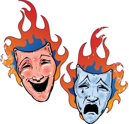 miserável: Flaming happy and sad theatre masks illustration. All elements are separate and fully editable
