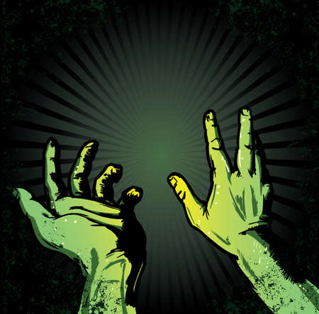 awaiting: Manos en el miedo de la luz de Halloween estilo ilustraci�n. Todos los elementos est�n separados y totalmente editable