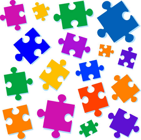 teaser: Jigsaw pieces vector illustration. All elements are separate and fully editable Illustration
