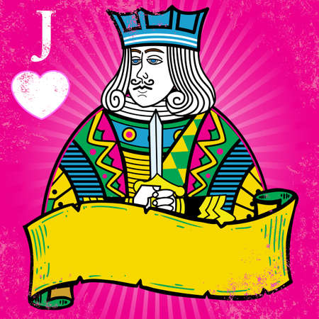 king and queen of hearts: Colorful Jack of Hearts with banner illustration. All elements are separate and fully editable Illustration