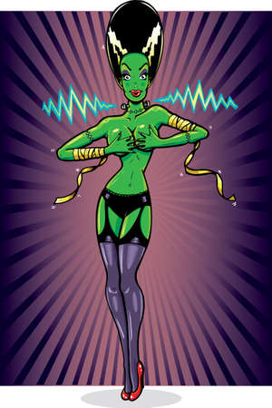 Sexy female frankensteins monster pin up vector illustration. Fully editable Vector