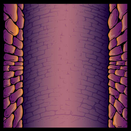 fortified wall: Dungeon stone wall background vector illustration. Fully editable Illustration