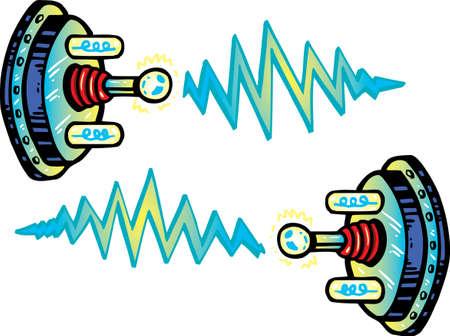 발전기: Cartoon style electrode vector illustration. Fully editable