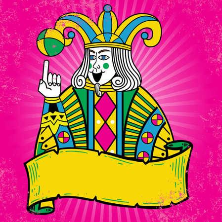 joker naipe: Reproducci�n de la tarjeta de colorido estilo Joker ilustraci�n. Formato vectorial totalmente editable. Otros ejemplos de juego en mi tarjeta de toda la cartera. Vectores