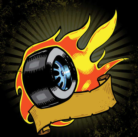 Grunge flaming wheel with banner vector illustration. Fully editable