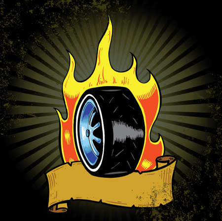 Grunge flaming wheel with banner vector illustration. Fully editable Stock Vector - 4303382