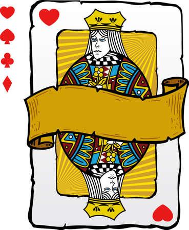 queen diamonds: Carta da gioco in stile regina illustrazione. Formato vettoriale completamente modificabile. Altre carte da gioco illustrazioni in pieno il mio portafoglio.
