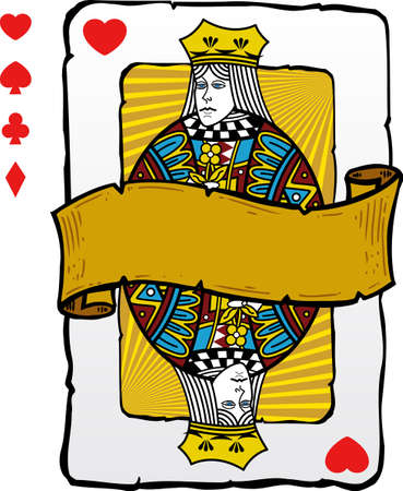 Playing card style queen illustration. Vector format fully editable. Other playing card illustrations in my full portfolio. Vector