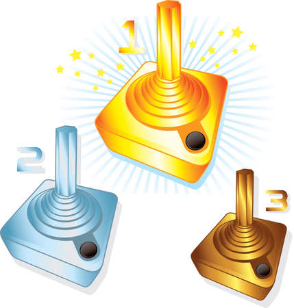 Gold Silver and Bronze gamers joysticks vector illustrations. Fully editable Vector