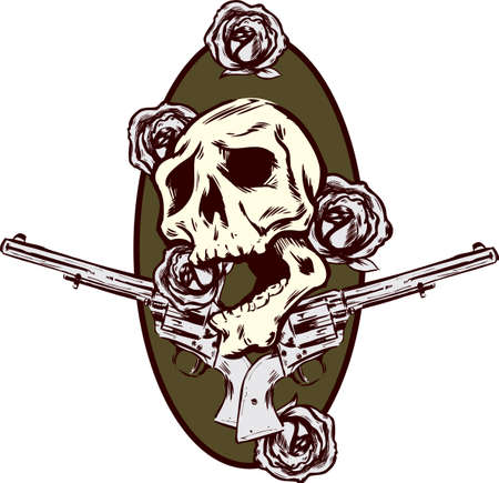 Guns roses and pistols tattoo style vector illustration all on seperate layers and fully editable Vector