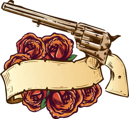 firearms: Guns and roses with banner illustration fully editable Illustration