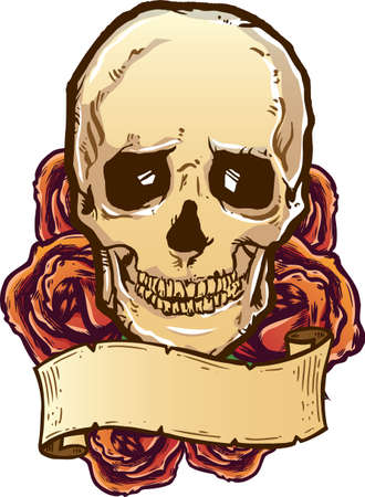 Skull roses and banner vector illustration. Fully editable