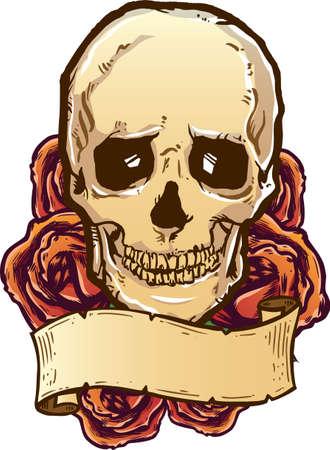 Skull roses and banner vector illustration. Fully editable Vector