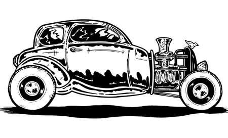 hot wheels: Vintage style hand drawn Hotrod car vector illustration Illustration