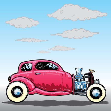antique car: Retro style Hotrod car vector illustration. Fully editable
