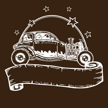 hot wheels: Vintage style hotrod illustration with banner