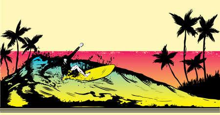 surfers: Retro style beach scene with surfer illustration