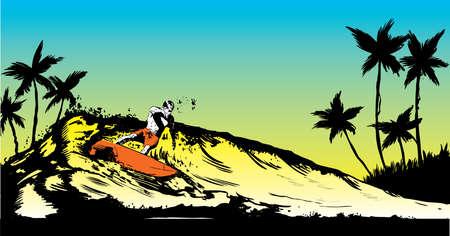 Retro style beach scene with short board surfer illustration Stock Vector - 4565103