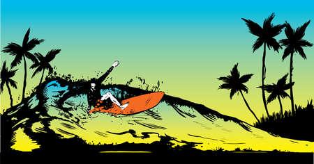 surfers: Retro style beach scene with long board surfer illustration