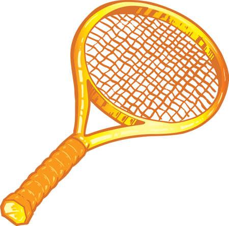 tennis racquet: Raqueta de tenis de oro ilustraci�n