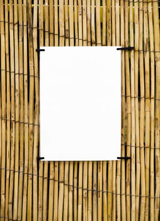 tiki: Bamboo cane background with clear space for notices