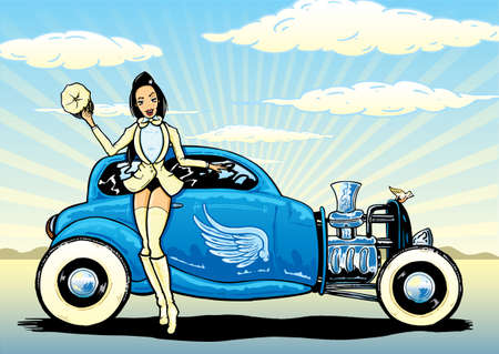 Hotrod To Heaven kustom culture style pin up illustration Vector