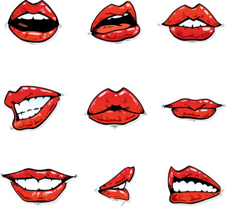 Glossy red lips collection in various expressions illustration