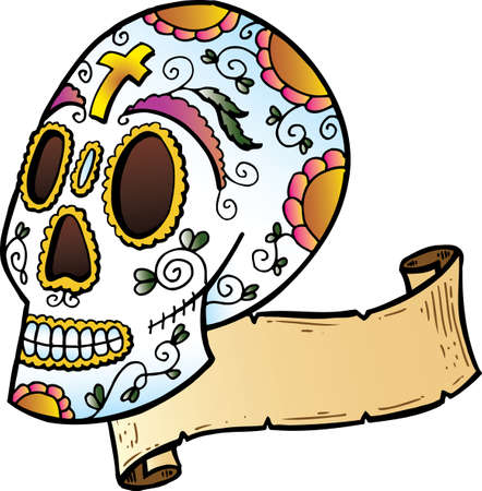 Festival Skull tattoo style illustration. All parts are separate and fully editable.