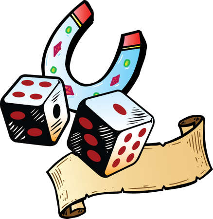 Lucky dice with horseshoe tattoo style illustration. All parts are separate and fully editable. Vector