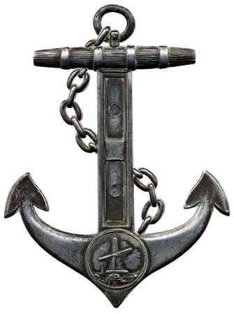 at anchor: Ancla de metal aislada sobre un fondo blanco